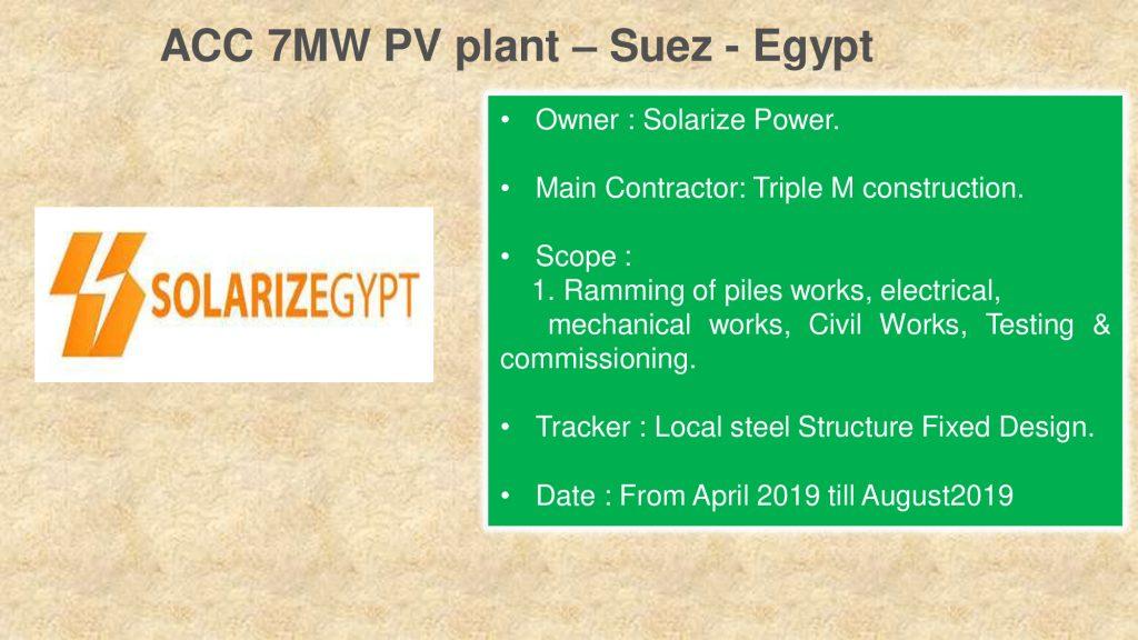 ACC 7MW PV plant – Suez - Egypt