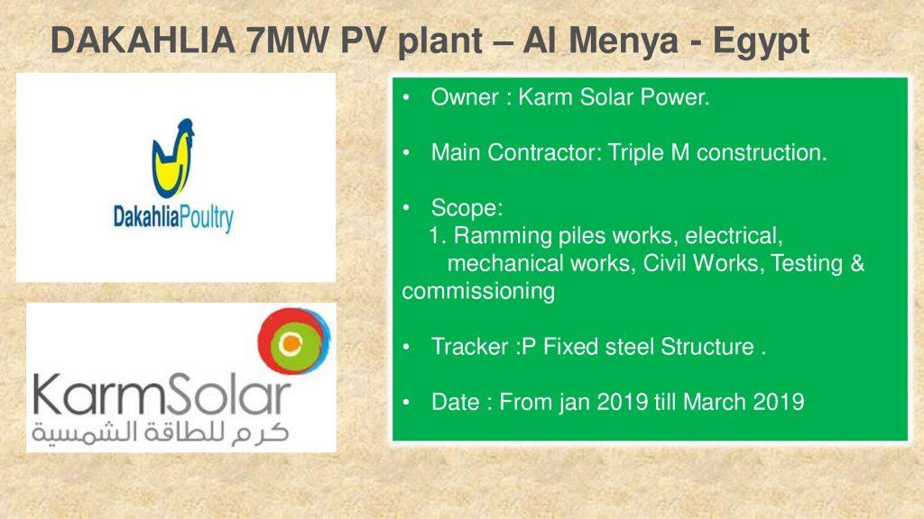 DAKAHLIA 7MW PV plant – Al Menya - Egypt