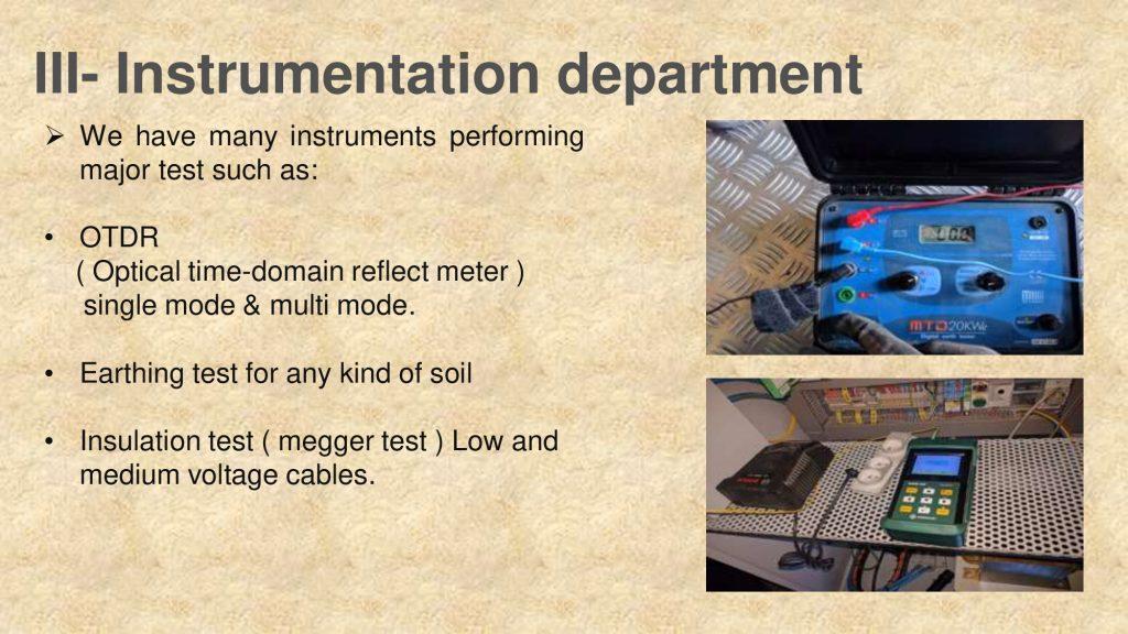 III- Instrumentation department