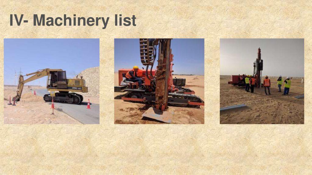 IV- Machinery list